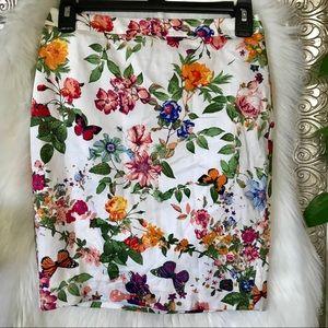 00p loft floral pencil skirt